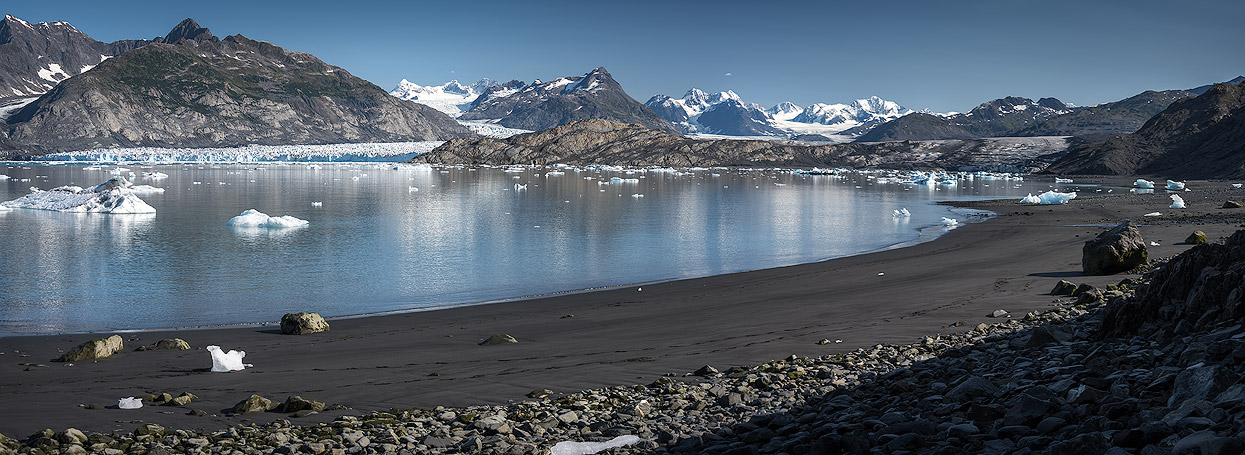 Beautiful beach overlooking the ice wall of Columbia Glacier in Prince William Sound