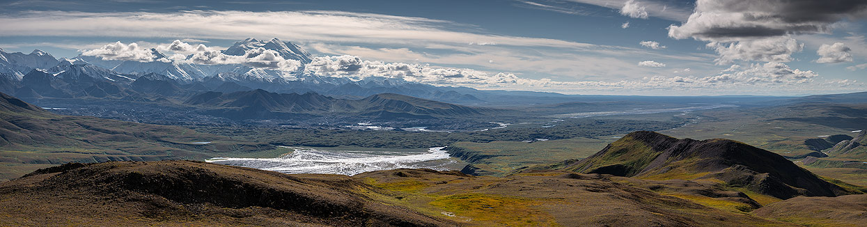 Panorama of Mount Denali and Alaska Range from Eielson Alpine Trail