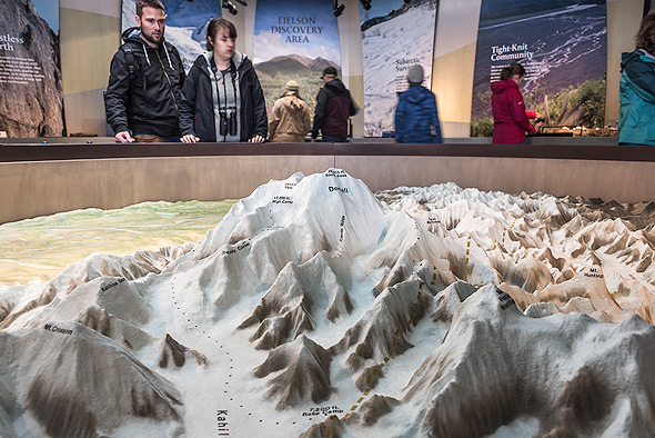 Three dimensional topographic map at the Visitors Center, Denali