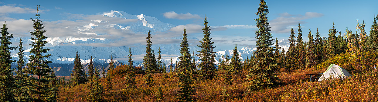 Panoramic autumn view of Denali from Wonder Lake Campground at Sunrise
