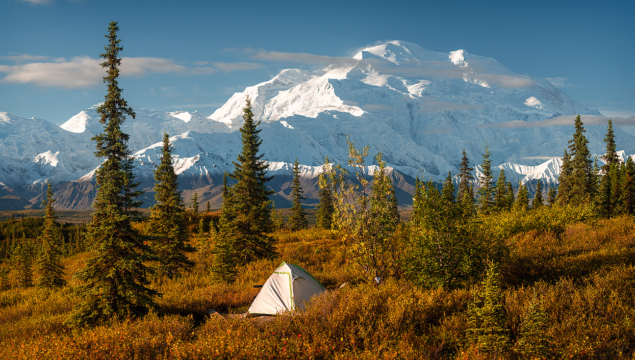 Scenic View of Denali (Mt. Mckinley) and the Alaska Range taken from Wonder Lake Campground in Denali National Park & Preserve