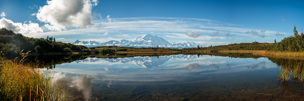 One of the most iconic and often-photographed images of Denali is from Reflection Pond close to Wonder Lake Campground