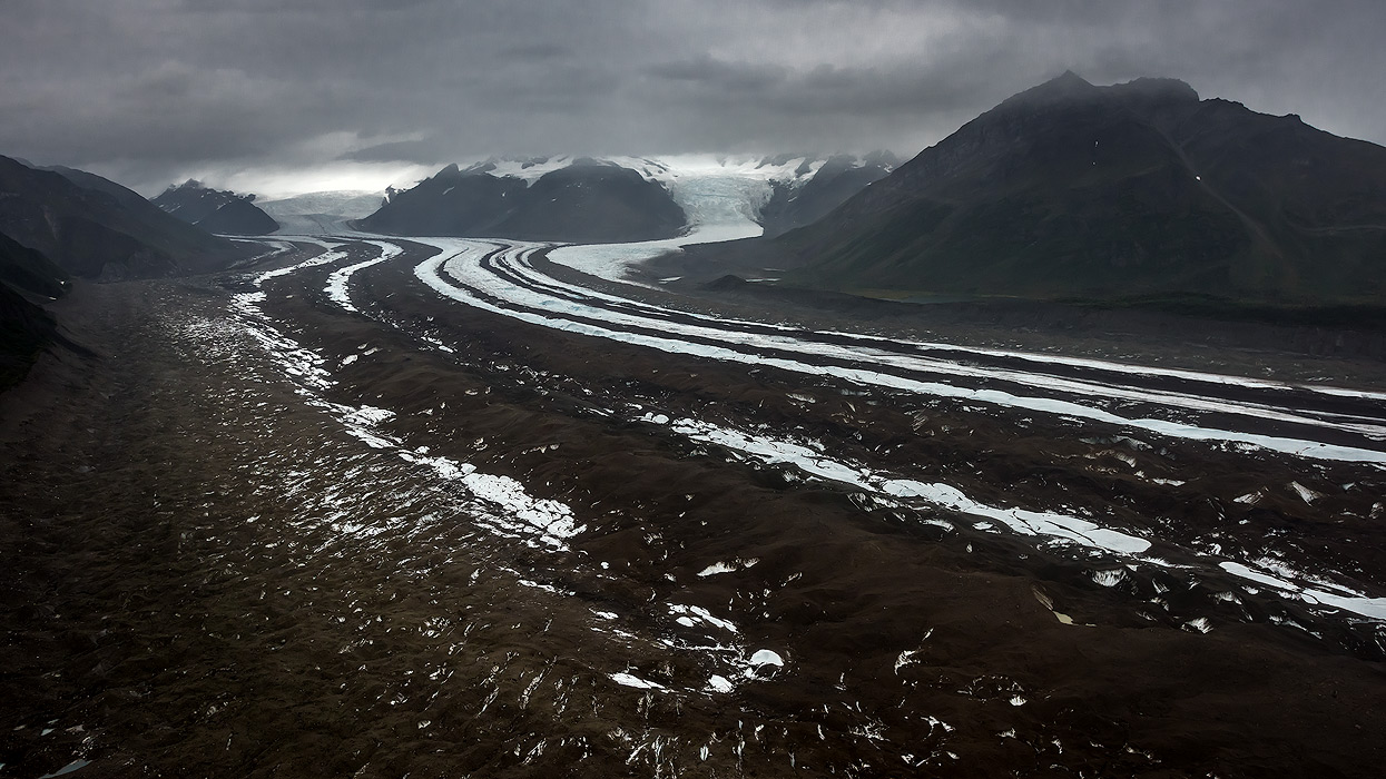 Aerial view of the biggest national park: Wrangell-St. Elias