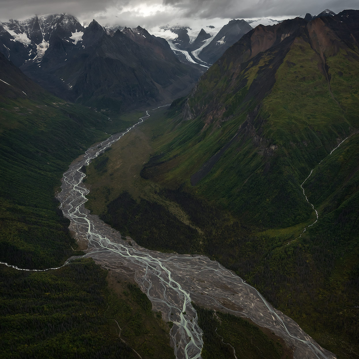 Aerial view of Hidden Creek running through the Wrangell Mountains at Wrangell St. Elias National Park