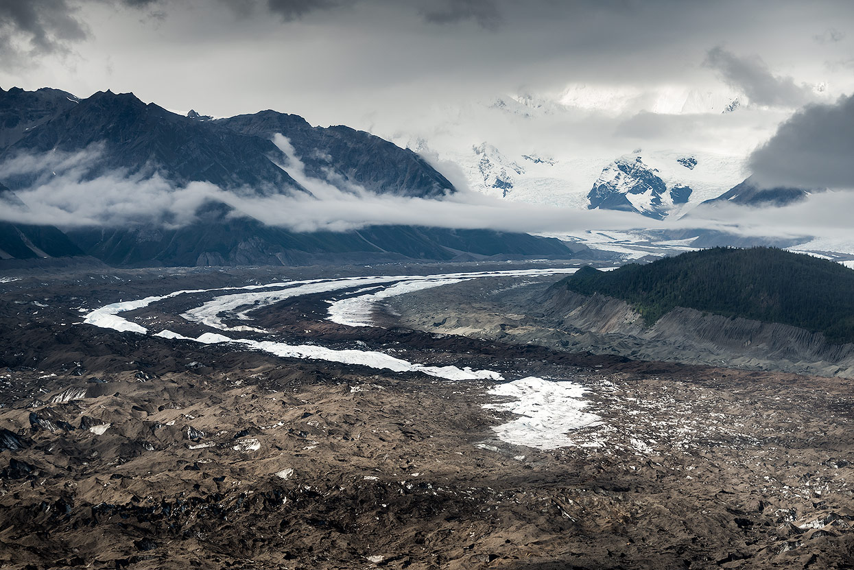 Aerial view of Kennicott Glacier at Wrangell St. Elias National Park