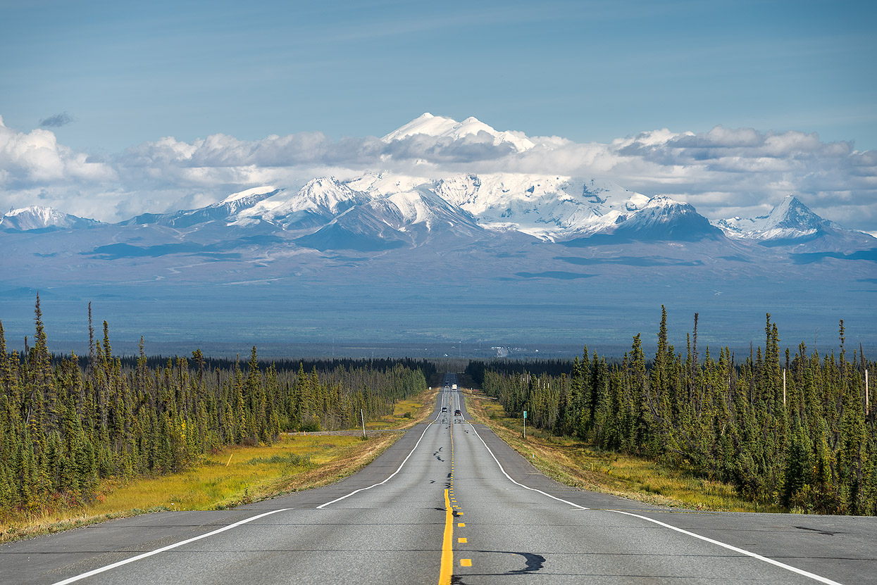 Glenn Highway about 30km before Glenallen with majestic Mount Drum in the background