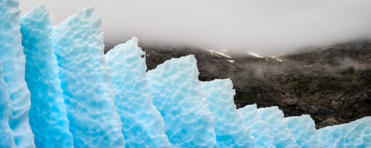 Pointed ice floes from a glacier