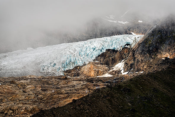 Layers of rock and glaciers