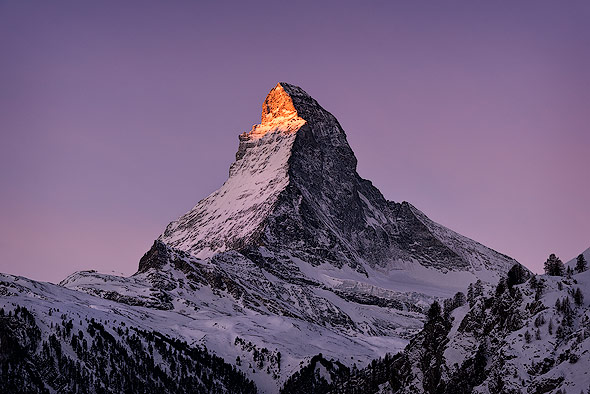 Sunrise shot taken from Zermatt