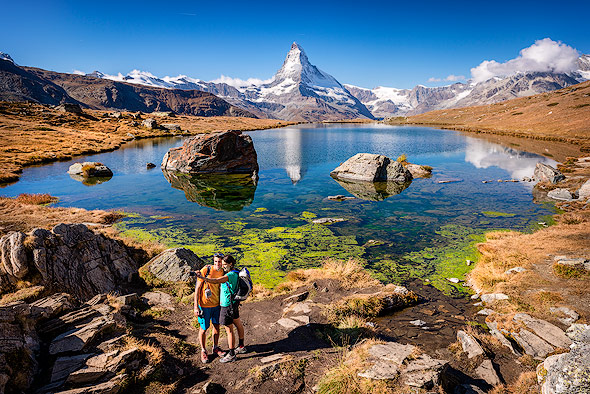 Popular trail in Zermatt: lake Stellisee