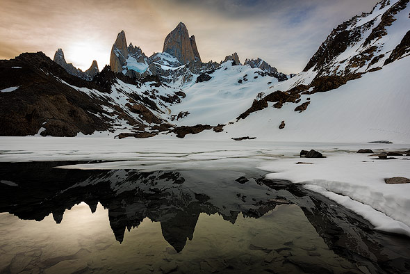 Reflection on Laguna de los Tres of mount Fitz Roy