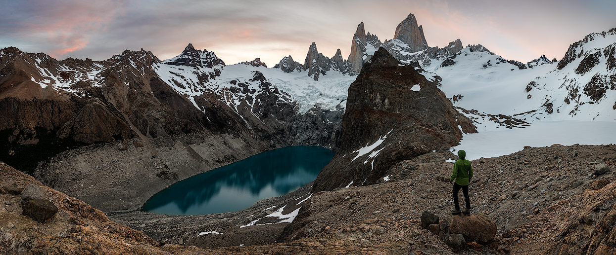 Panorama of Laguna Sucia, Mount Fitz Roy and Laguna de los Tres (covered by snow)