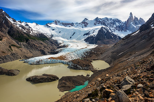 View from Mirador Maestri on glacier lake and Cerro Torre