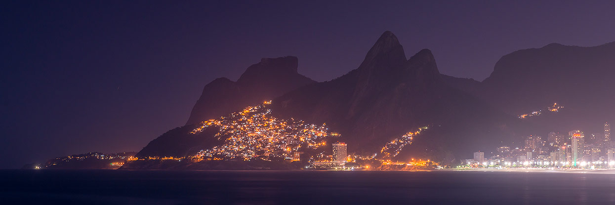 Night shot panorama of Sugarloaf Mountain and Ipanema Beach