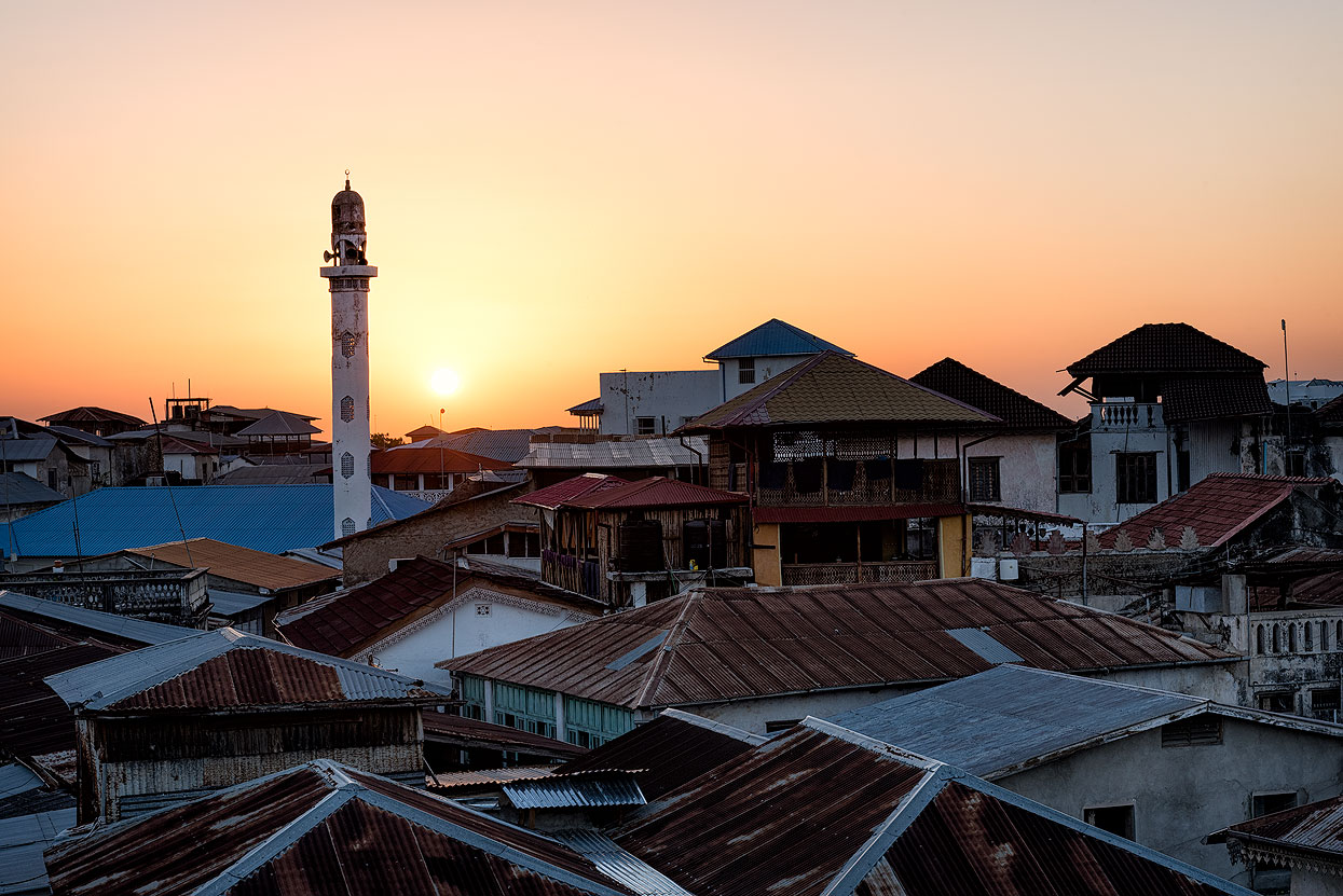 The sun sets over Zanzibar's ancient city
